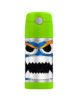 Genuine Thermos Brand Funtainer Vacuum Insulated Straw Bottle, 12 Ounce, Green, Funny Faces by Genuine Thermos Brand