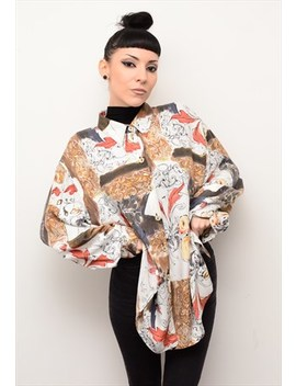 Vintage 90's Abstract Indie Patterned Oversized Shirt by Cherry Came To