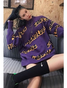 Loose Fit Oversized Knitted Sweatshirt Top In Purple by Now Millennial