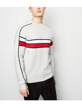 Pale Grey Colour Block Crew Neck Jumper by New Look