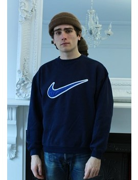 Vintage 90s Blue Nike Centre Swoosh Spellout Sweatshirt Crew by Nike
