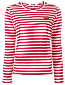 Heart Logo Striped T Shirt by Comme Des Garçons Play