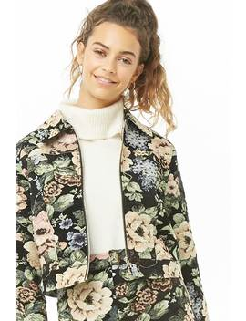 Floral Jacquard Jacket by Forever 21