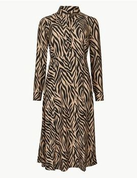 Animal Print Long Sleeve Shirt Midi Dress by Marks & Spencer