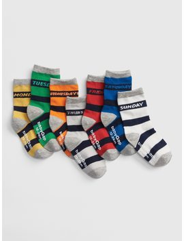 Stripe Days Of The Week Crew Socks (7 Pack) by Gap