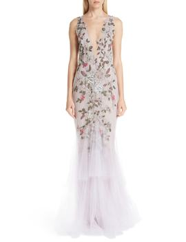 Embroidered Floral Evening Dress by Marchesa
