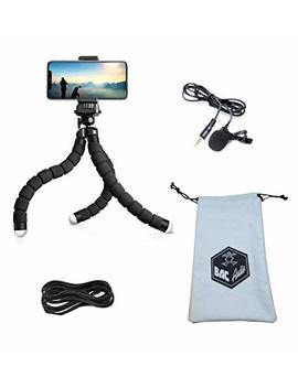 Bac Audio Essential Vlogging Equipment With Flexible Octopus Tripod, Tablet Or Cellphone Video Recording And Lavalier Microphone For Apple, I Phone, Android Smartphone Youtube Interview And Studio by Bac Audio