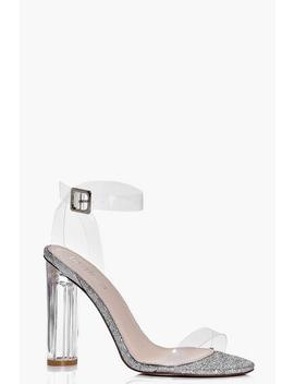 Amber Glitter Cylinder Clear Two Part Heels by Boohoo