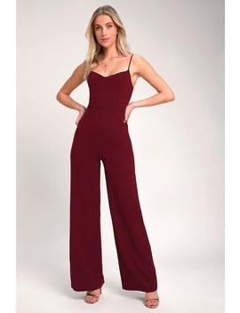 Tilia Burgundy Wide Leg Jumpsuit by Lulus