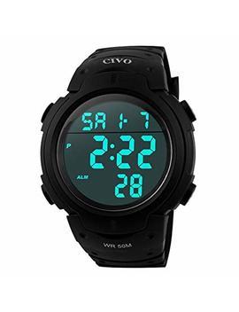 Men's Sport Watch By Civo Multifunctional Military Waterproof Simple Design Big Numbers Digital Lcd Screen Casual Watch With Microfiber Bonus by Civo