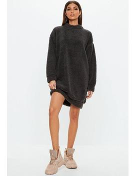 Grey Borg Teddy Crew Neck Sweatshirt Dress by Missguided