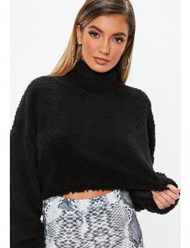 Black Teddy High Neck Cropped Sweatshirt by Missguided