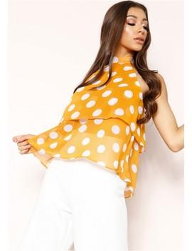 Nai Mustard Polkadot High Neck Layered Top by Missy Empire