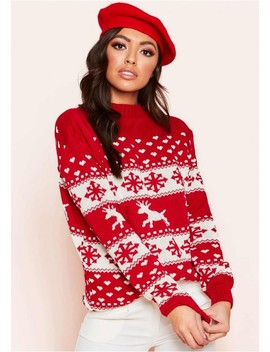 Cindy Red Oversized Christmas Jumper by Missy Empire