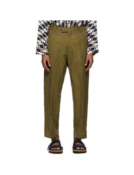 Brown & Yellow Pen Trousers by Dries Van Noten