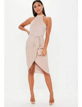 Taupe High Neck Suede Tie Midi Dress by Missguided