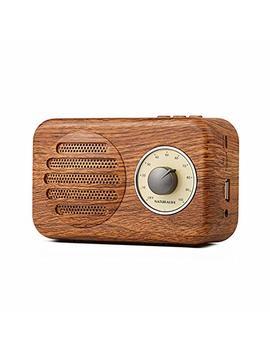 Naturalife Stereo Altoparlante Bluetooth Portatile Di Colore Legno, Stile Vintage, Con Radio Fm, Ingresso Audio Jack Da 3,5 Mm, Porta Usb E Porta Per Scheda Tf, Suono Stereo Da 5 W by Naturalife