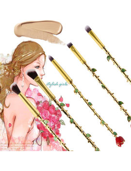 5 Pcs Makeup Brush Set Beauty And The Beast Rose Brushes Magic Cosmetics Tool by Ebay Seller