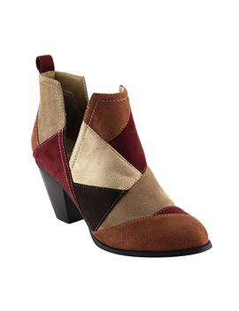 Nature Breeze Ff46 Women's Slip On Patchwork Chunky Block Heel Ankle Booties by Amazon