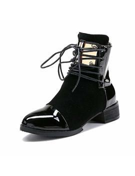 Liuruijia Women Leather Genuine Boots Martin Ankle Boots Sheet Metal Short Boots Flat Bottom Black Wine Red Gi Bt Gc213 2 by Liuruijia