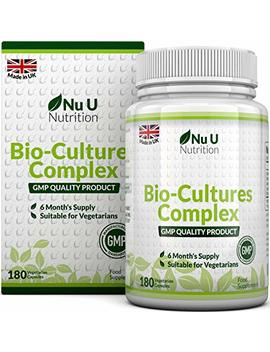 Bio Cultures 180 Capsules (6 Month Supply) | Vegetarian Multi Strain | High Strength Cultures Includes Lactobacillus Acidophilus & Bifidobacterium | Capsules Not Tablets By Nu U Nutrition by Nu U Nutrition
