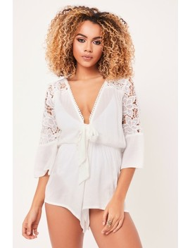 Sienna White Lace Playsuit by Misspap