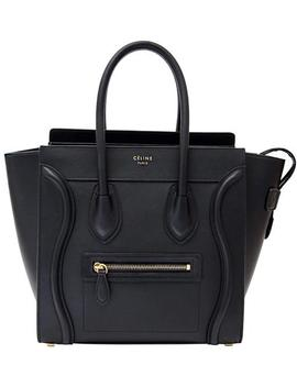 Luggage Micro Black Smooth Calfskin Leather Tote by Céline