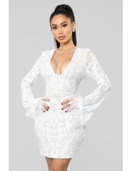 Feather Me Up Sequin Mini Dress   White by Fashion Nova