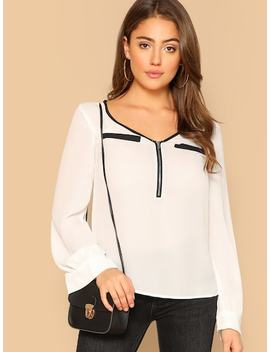 Contrast Binding Half Placket Blouse by Shein