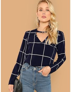 Keyhole Neck Grid Top by Shein
