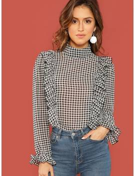 Ruffle Detail Mock Neck Plaid Top by Shein