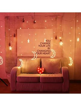 Romantic Window Fairy Lights, Curtain String Icicle Lights With 8 Modes,6 Stars&6 Moons Curtain Strips 138 Le Ds Christmas Festoon Lights For Indoor Wedding Party Xmas Decorations (12.5 X3.3 Ft) by Vimlits