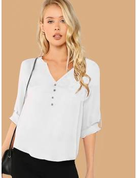 Button Front V Neck Top by Shein