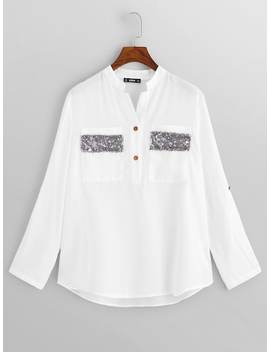 Pocket With Sequin Detail Shirt by Shein