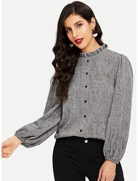 Button Front Ruffle Top by Shein