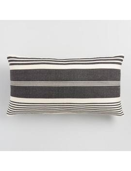 Oversized Black & White Striped Indoor Outdoor Lumbar Pillow by World Market