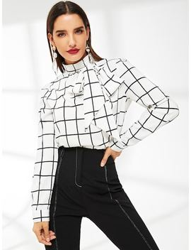 Mock Neck Bow Tie Detail Grid Top by Shein