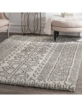 Nu Loom Moroccan Inspired Luxuries Soft And Plush Abstract Tribal Ivory/Grey Shag Rug (7'6 X 9'6) by Nuloom