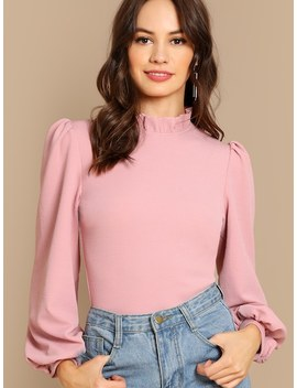 Frilled Neck Bishop Sleeve Ribbed Top by Shein