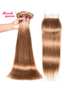 March Queen #27 Peruvian Straight Hair With Closure Honey Blonde Color Human Hair Weave 3 Bundles With 4 X4 Lace Closure by Marchqueen