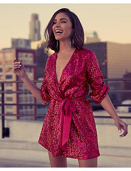 Olivia Culpo Surplice Sequin Dress by Express