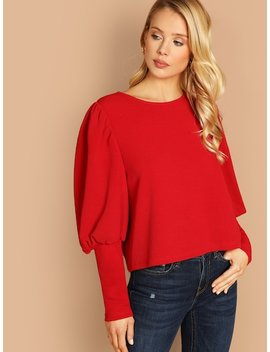Gigot Sleeve Solid Top by Shein
