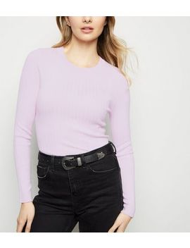 Lilac Crew Neck Ribbed Jumper by New Look