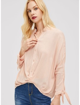 Boxed Pleated Dip Hem Shirt by Shein