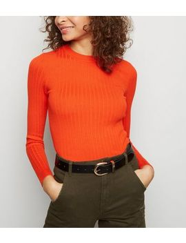 Orange Neon Crew Neck Ribbed Jumper by New Look