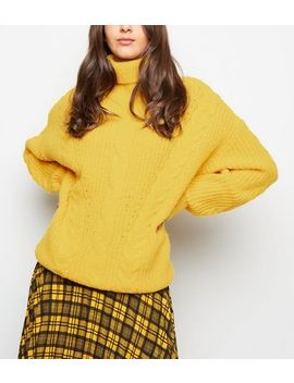 Yellow Roll Neck Cable Knit Jumper by New Look