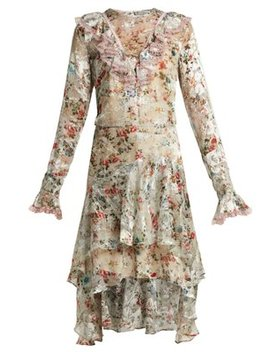 Doris Floral Print Silk Blend Devoré Dress by Preen By Thornton Bregazzi