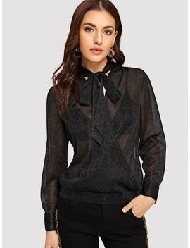 Tie Neck Glitter Sheer Top Without Bra by Shein