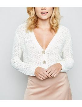 Cream Pointelle Cropped Cardigan by New Look