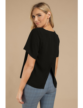 Let It Down Easy Black Blouse by Tobi